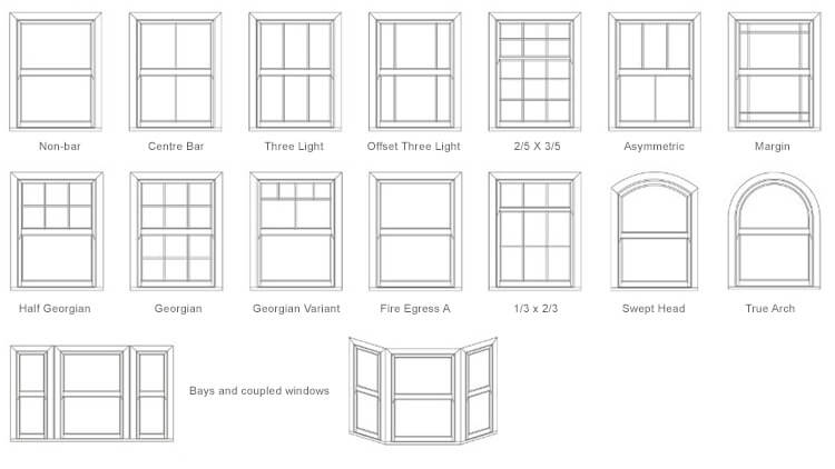 different types of sash windows